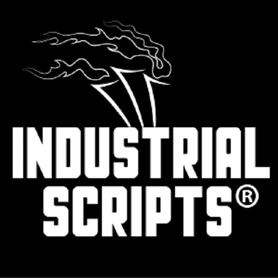 Industrial Scripts Logo: Online Screenwriting Courses. Write For TV. blogger. romance novel. Screenwriting newsletter. guaranteed reads. script reading course.