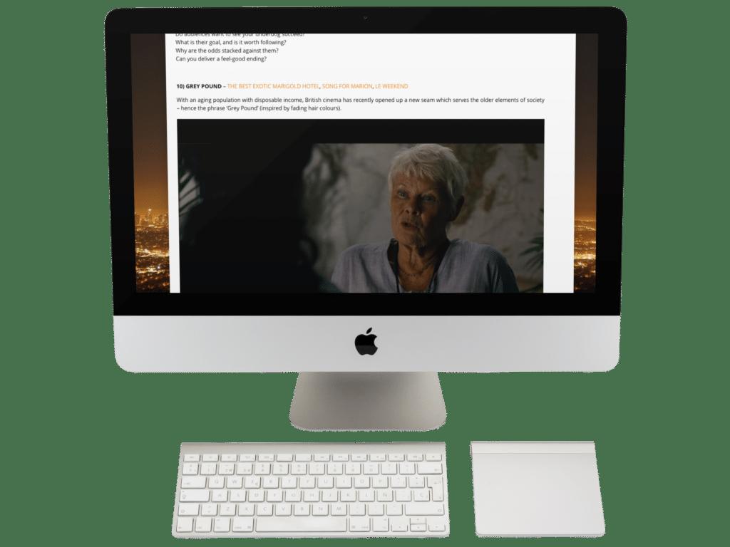 Industrial Scripts: write romance. MacBook. Online screenwriting course.