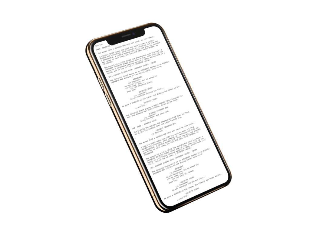 iphone showing movie scripts pack by industrial scripts