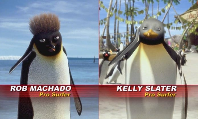 Talking head interviews satirized in SURF'S UP