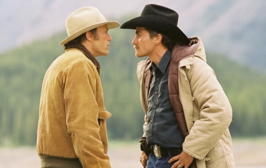 Tempers flare between Jack and Ennis in BROKEBACK MOUNTAIN.