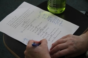 Take notes during the table read