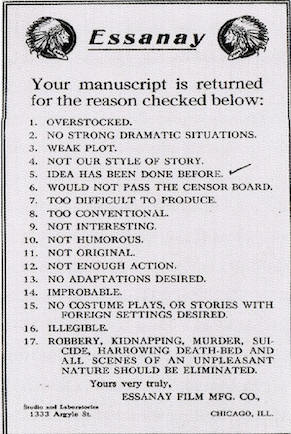 17-point checklist movie studios used to reject scripts during the silent-film era.