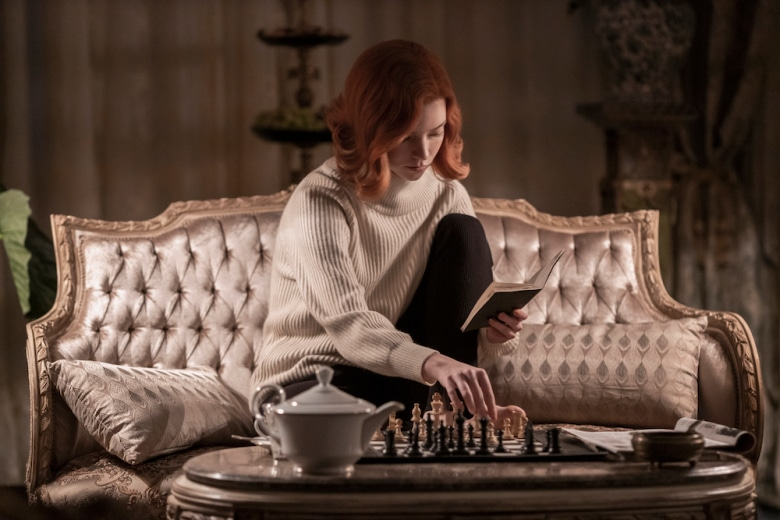 Beth Harmon playing chess