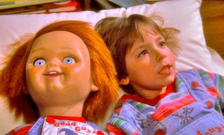 Chucky Doll and Andy in Child's Play.